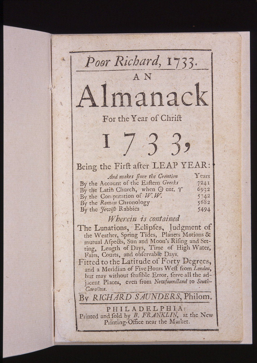 ben franklin poor richard's almanack